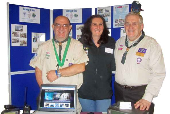 Bob MM1AWV and George GM8YUI with Jane from the County Media Team